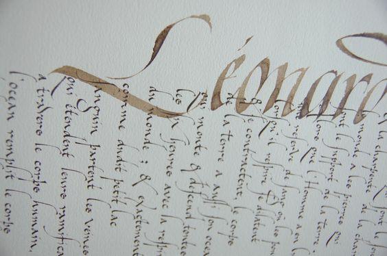 Citation de Léonard de Vinci - Calligraphie de Julien Chazal