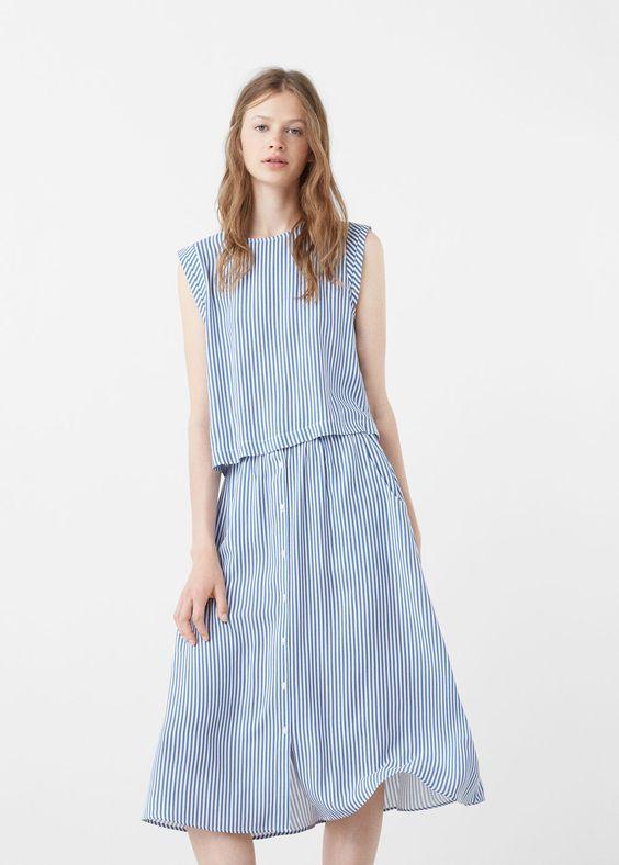 Falda diseño rayas - Faldas de Mujer   MANGO España