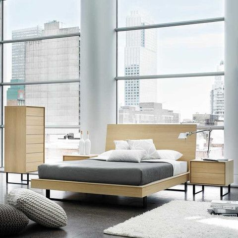 Kasala modern wood floating platform bed bedroom set for Furniture in tukwila
