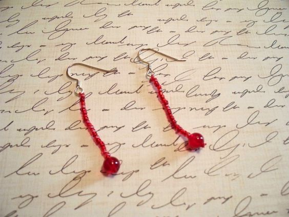 Dangle Earrings in Red by justforfunbyjodi by justforfunbyjodi, $6.00