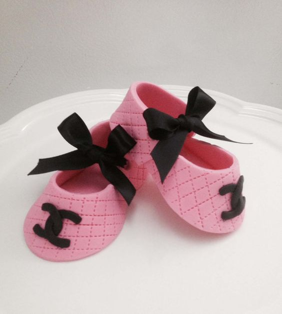 pink/black ribbon Fondant shoes cake toppers by Ninettacakes