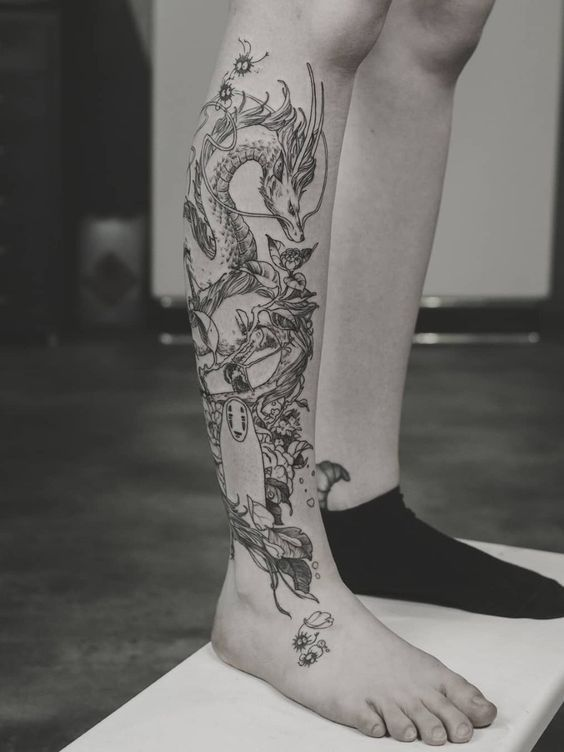 Spirited Away Kohaku As A Dragon Tattooed On The Leg Www Otziapp Com Tattoos Tattoos For Guys Spirited Away Tattoo
