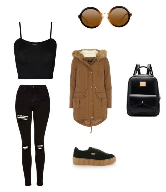 """""""Blrown"""" by loveteedweh-1 on Polyvore featuring Puma, WearAll, Topshop and Dorothy Perkins"""