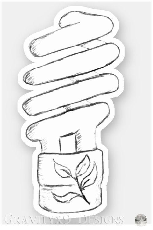 Cfl Bombilla De Luz Croquis De La Etiqueta Engomada Zazzle Com Light Bulb Sketch Bulb Budget Gift