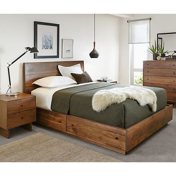 Hudson Bed With Storage Drawers Wool Wood Storage And Blankets