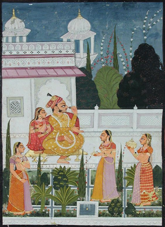 A raja on a terrace with his rani, attended by three women
