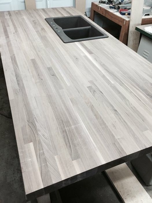 Gray Butcher Block Kitchen Makeover Custom Butcher Block
