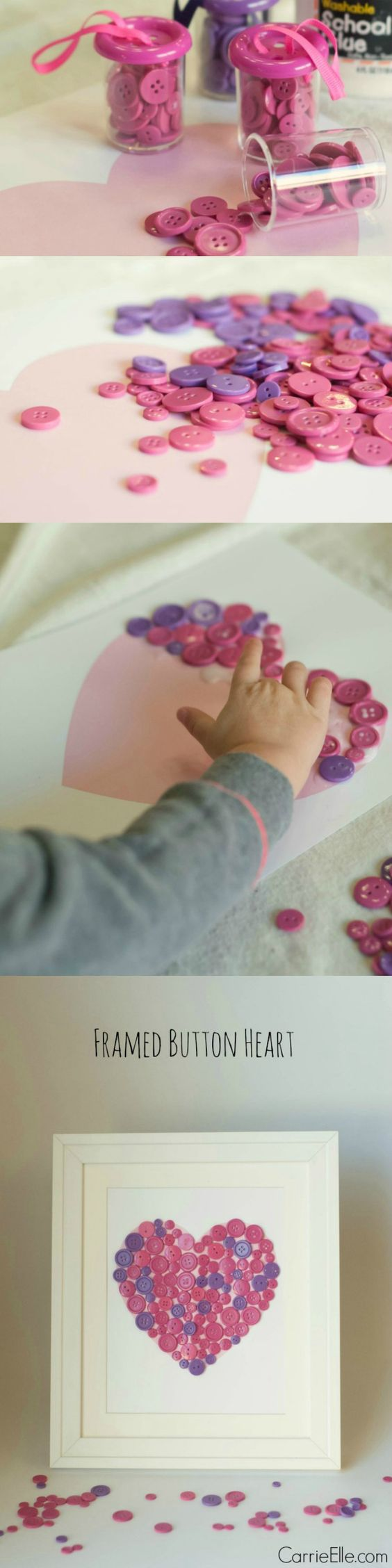 This easy Valentine's Day craft is adorable! It was simple enough for my three-year-old to do by herself, and it only cost a few dollars to make. And it's so cute, we'll hang it up year-round!: