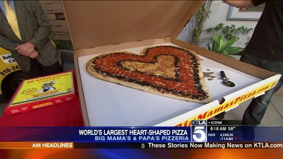 World's Largest Deliverable Heart-Shaped Pizza!  Only from #BMPP  Smaller 1-topping version available at all locations for $16.99!  www.bigmamaspizza.com