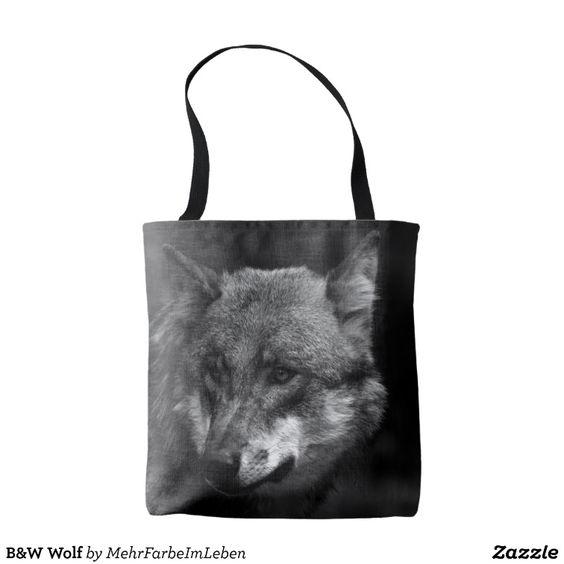 B&W Wolf Tote Bag