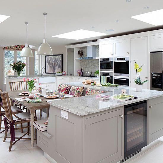 Pale Grey Kitchen With Island Unit Kitchen Decorating Ideal Home Kitchen Appliances Layout French Kitchen Decor Kitchen Island Booth