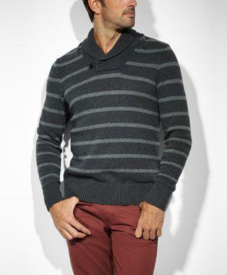 Levi's Stripe Shawl Pullover Sweater - Black Heather & Grey - Sweaters