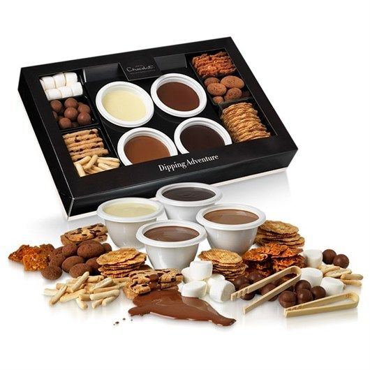 large-chocolate-dipping-adventure Appreciate the chocoholics with large chocolate dipping adventure gift. Send pots of dark, white, caramel and milk chocolates to loved ones to experience the scrumptious chocolates ever tested before.
