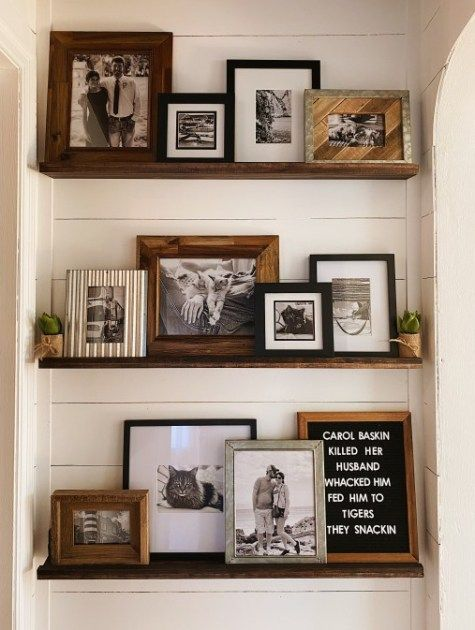 Diy Picture Ledge Shelves Janelletrinette Com In 2020 Farmhouse Gallery Wall Gallery Wall Living Room Gallery Wall Shelves