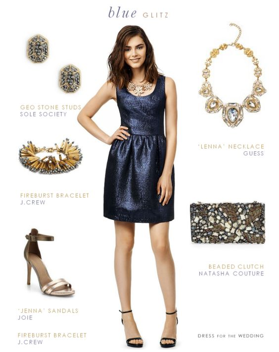 Wedding Guest Outfits | Blue metallic cocktail dress to wear to a wedding