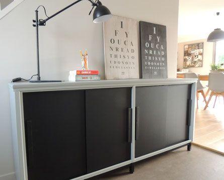 meuble r nov maurice look industriel pour cette enfilade peinte en gris et noir ardoise. Black Bedroom Furniture Sets. Home Design Ideas