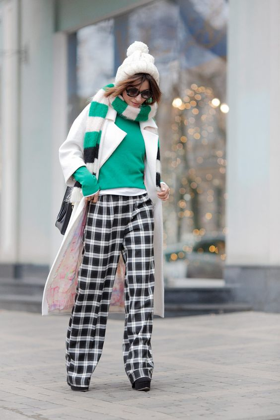 check trousers, white coat, max mara scarf, playful winter styles, ellena galant girl