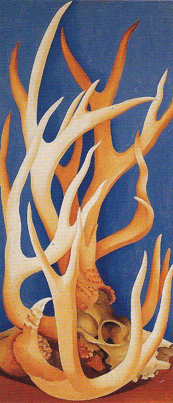 "Georgia O'Keeffe - ""Deer Horns"" {1938)"