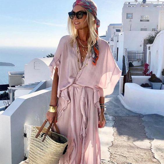 Solid Loose Ruffles Beach Maxi Dress – Youbox.com