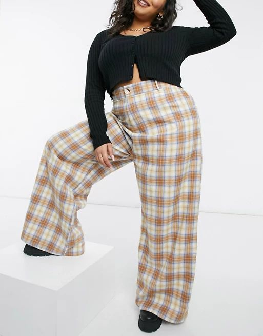 Daisy Street Plus high waist wide leg trousers in check co-ord