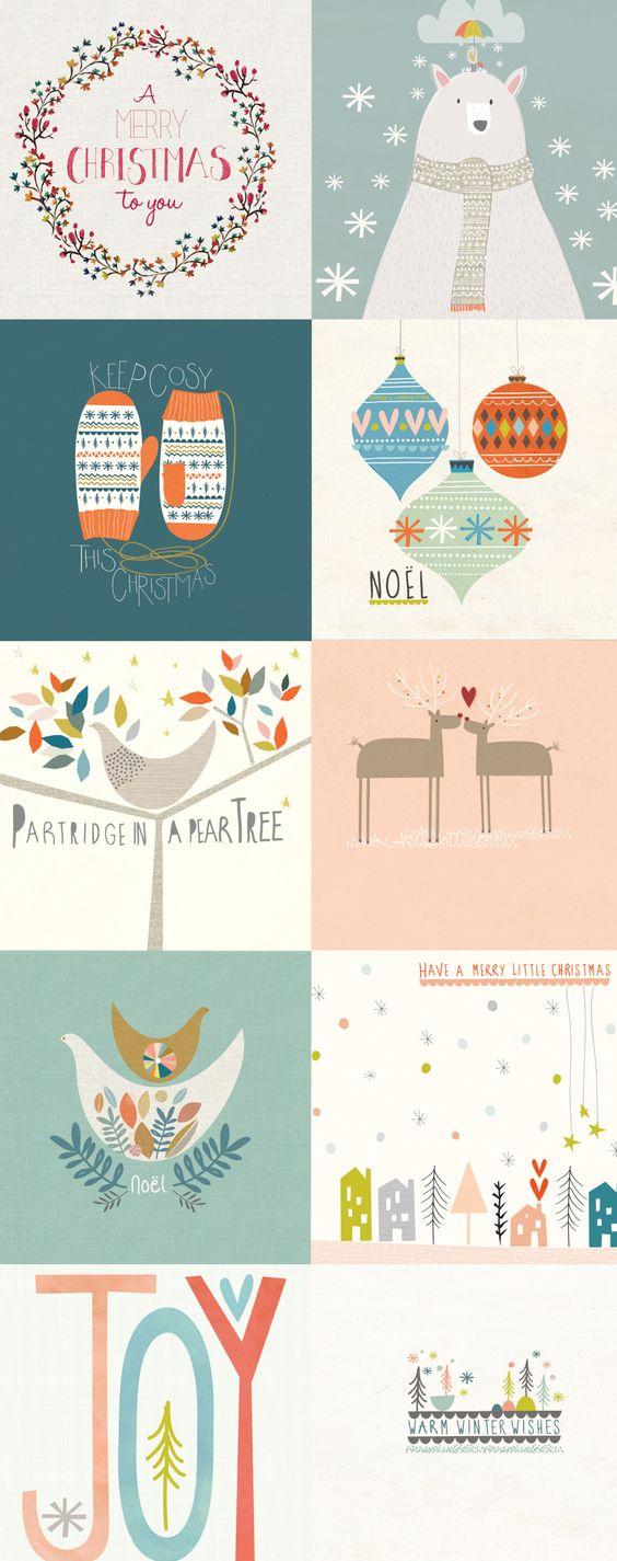 Beautiful Christmas card designs @ papermoonillustration.com