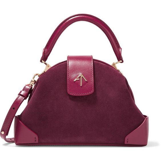 Manu Atelier Demi miniature suede and leather shoulder bag (580 CAD) ❤ liked on Polyvore featuring bags, handbags, shoulder bags, burgundy, mini shoulder bag, suede handbags, purple leather purse, shoulder strap bags and leather shoulder bag