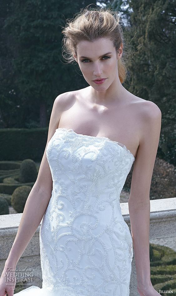 jillian 2016 bridal gowns straight across neckline mermaid wedding dress lace embroidered bodice to hip style cristiana