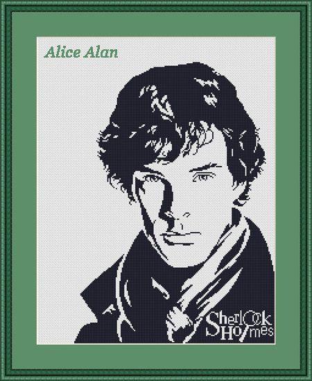 Cross Stitch Pattern Silhouette Sherlock Holmes by HallStitch