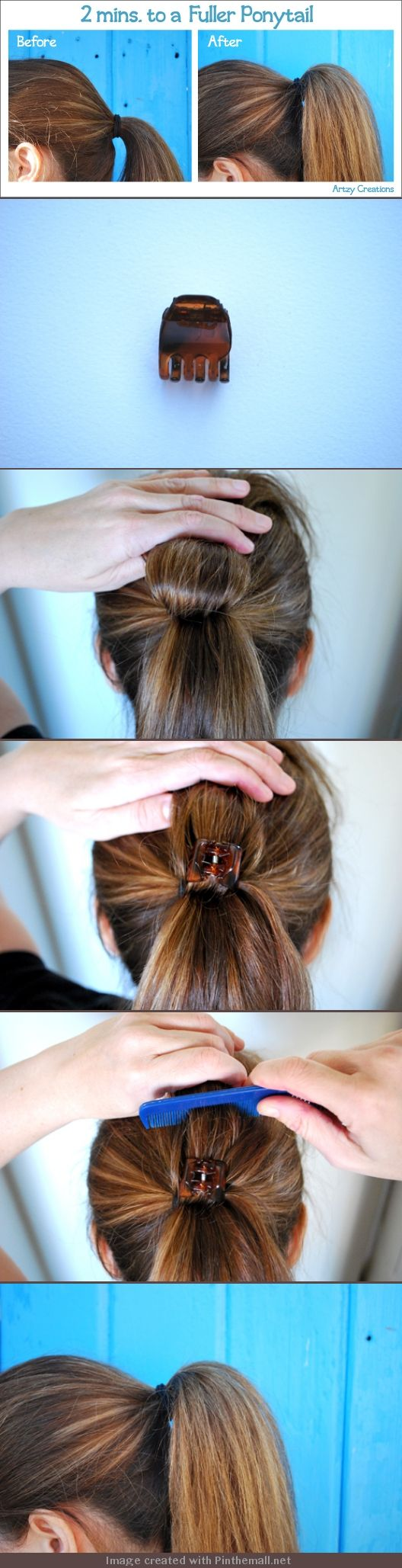 2mins For A Fuller Ponytail. 1) Divide ponytail in half, flip hair back.  Hold this section on top of your head 2) Put clip in hair 3)Tease top section of hair.  Don't over do it as you want it to be a natural look. Spray your hair with a good aerosol hairspray.