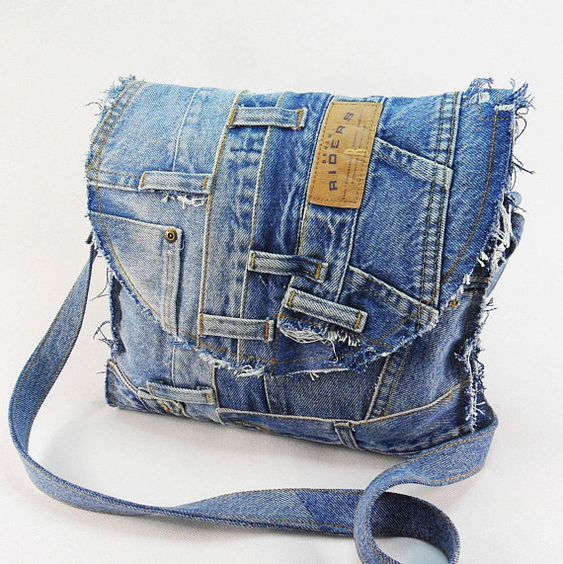 Recycled Denim Jeans bag Frayed Denim Bag Patchwork bag Vegan