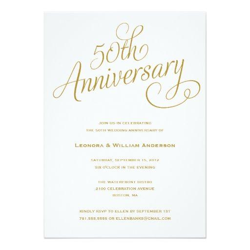 "50TH   WEDDING ANNIVERSARY INVITATIONS 5"" X 7"" INVITATION CARD"