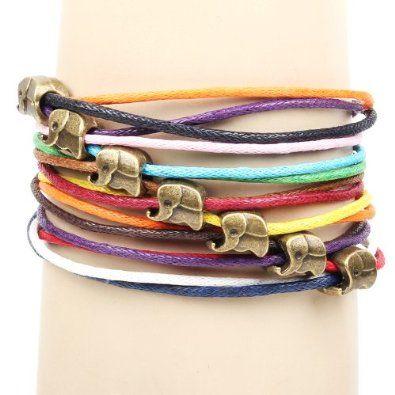 Amazon.com: Brass Copper Elephant Thailand Charm Pendants on Handmade Leather Infinity Bracelet: Jewelry