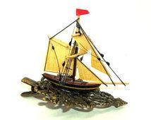Sailing Ship Hair Clip .... yellow stripe (L), nautical, burlesque, fascinator, wedding, bride, captain, ren fair