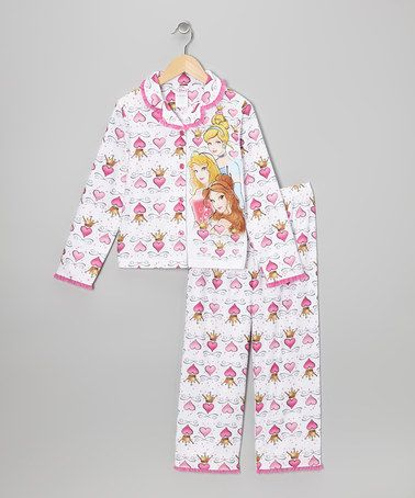 White Princess Hearts Button-Up Pajama Set - Girls | Heart button ...