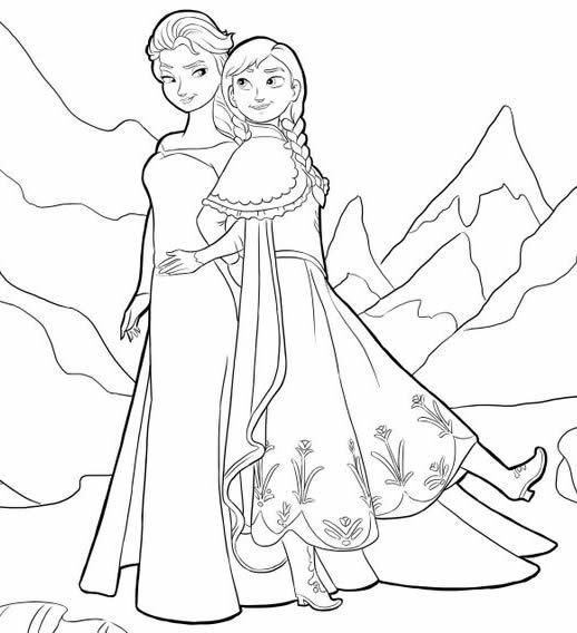 Elsa et anna coloriage a imprimer anniversaire reine des neiges pinterest papercraft and - Coloriage anna et elsa ...