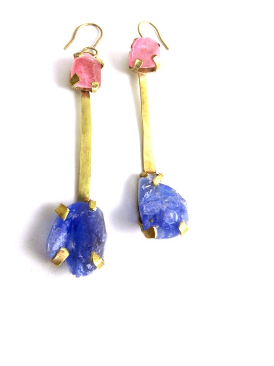 Alla en la Fuente, earrings 2013 Pigment infused resin stones and red brass.