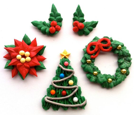 Royal Icing Christmas Cupcake Toppers  by cupcakesbychristy, $30.00