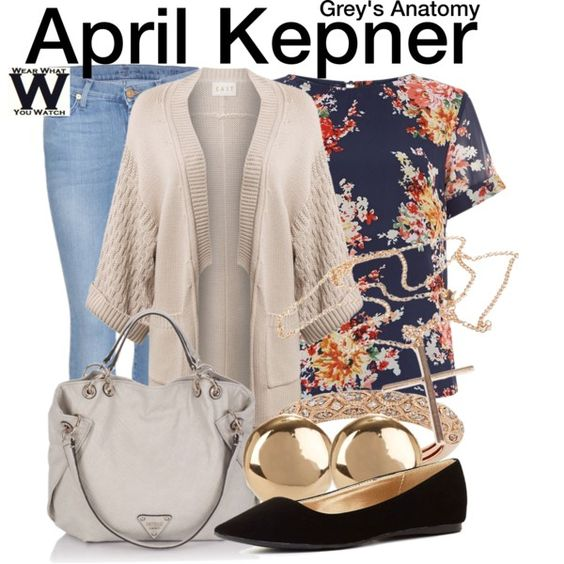 Inspired by Sarah Drew as April Kepner on Grey's Anatomy. (I don't watch Grey's, so I don't know if I would like all of her clothes, but I love this.)