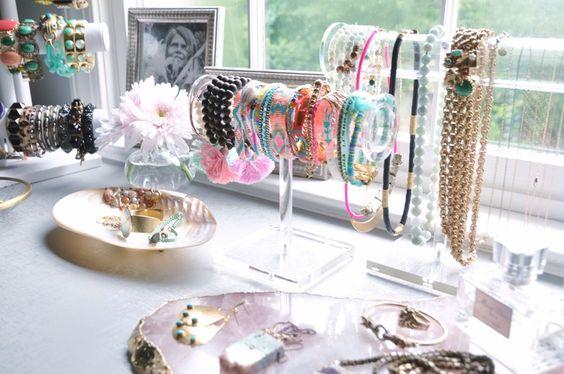 acrylic jewelry stands + rose quartz