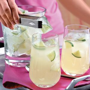 Lemon and lime ice cubes for the yellow/green theme