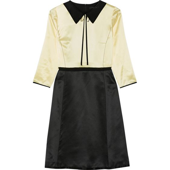 Marc Jacobs Two-tone silk-satin dress (6.610 ARS) ❤ liked on Polyvore featuring dresses, yellow evening dress, pastel cocktail dress, a line dress, tie waist dress and evening cocktail dresses