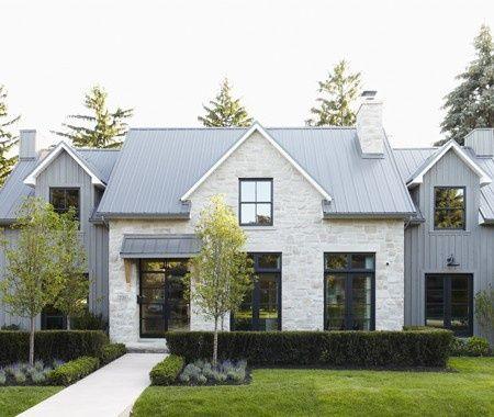 Clean Lines Black Steel Windows Gray Siding On Sides