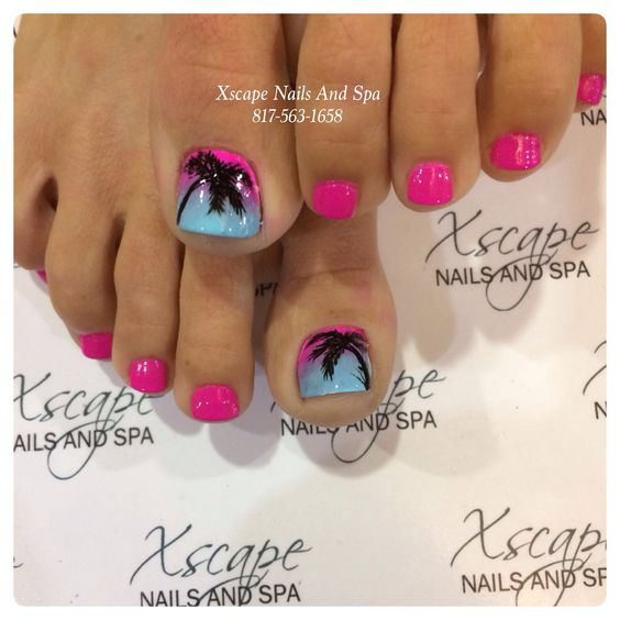 Hot pink - Lavender - Sky blue - Black - Ombre - Palm trees - Toenail design Discover and share your nail design ideas on https://www.popmiss.com/nail-designs/