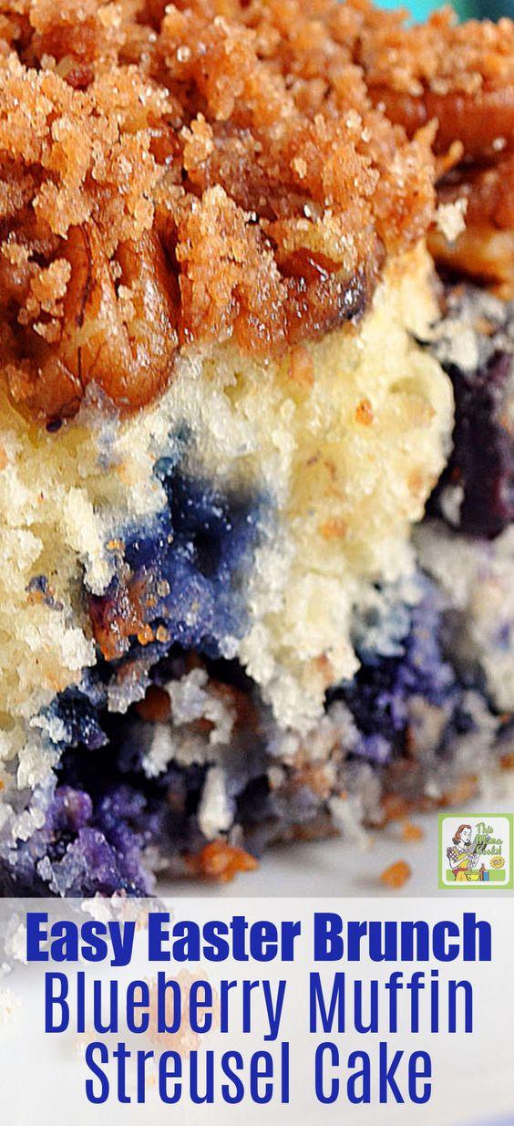 Easy Easter Brunch - Blueberry Muffin Streusel Cake