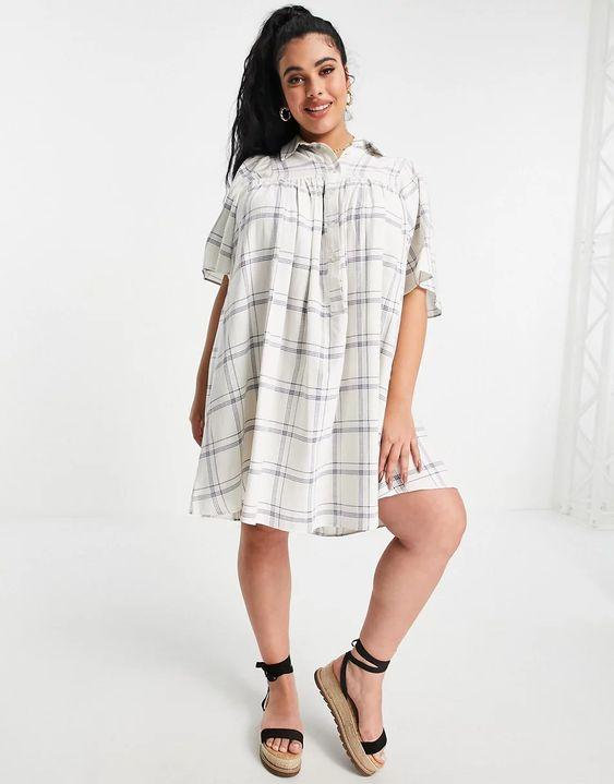 Check Smock Dress With Kimono Sleeve, £28, ASOS Curve