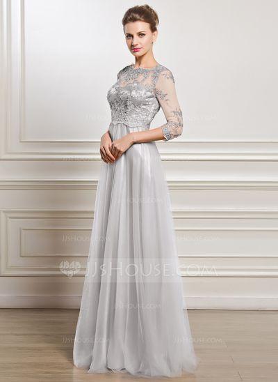 Forme Princesse Col rond Longueur ras du sol Tulle Robe de mère de la mariée avec Dentelle Emperler Sequins (008056835)