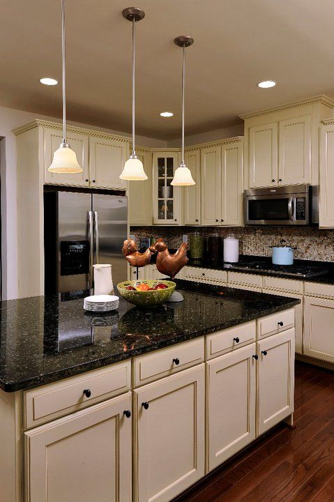 White Kitchen Cabinets With Black Countertops Would Love To Have A Kitchen With An Island And Black Marble .