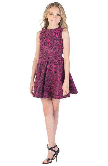 Miss Behave &39Alexis&39 Flower Print Fit &amp Flare Dress (Big Girls ...