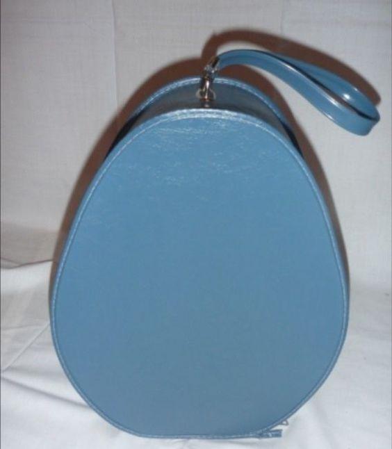 Rare Vintage Blue Travel Suitcase Egg Shape Plastic Vinyl With Zipper And Handle