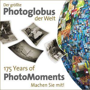 """Der größte Photoglobus der Welt! Machen Sie mit - Seien Sie mit Ihren Fotos Teil der fotografischen Zeitreise """"175 Years of PhotoMoments""""  Infos unter: http://www.prophoto-online.de/photoglobus/de"""